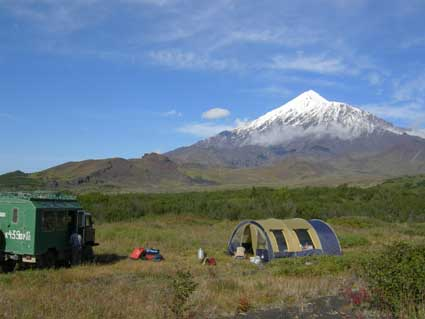 Kamchatka. Our base camp near Tolbachiks volcanoes